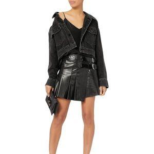 NWT Helmut Lang Leathrr Pleated Skirt